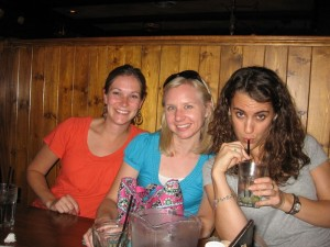 Kelly, Ashley, and Grace up for some Irish pub fare