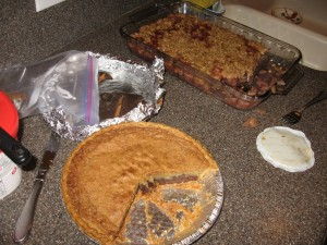 Cranberry compote and chocolate chip cookie dough pie for dessert. Yum!!!!