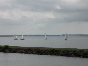 Sailboats in the harbour behind the pub