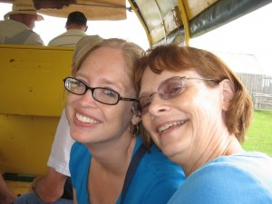 Hannah and Mom on the wagon ride
