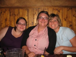 Me, Katie, and Jo--not discussing our male waiter's crocks.