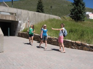 Grace, Ashley, and Johanna getting ready to hit Vail Village.