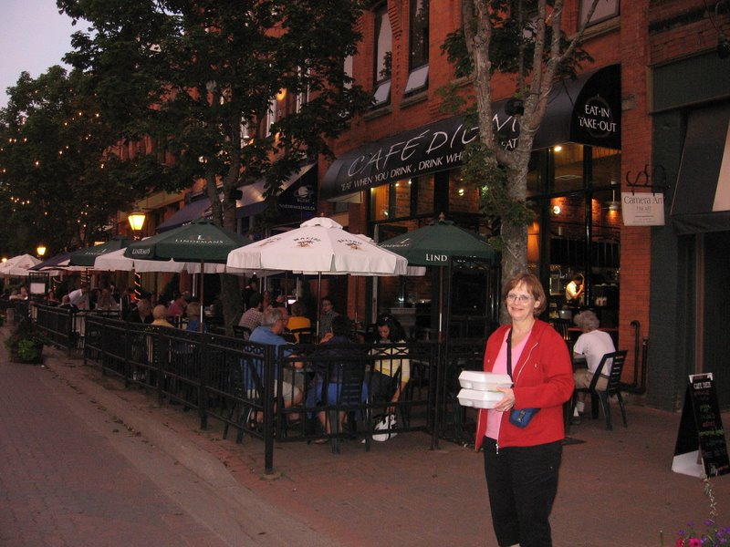 Mom outside the Cafe Diem on Victoria Row