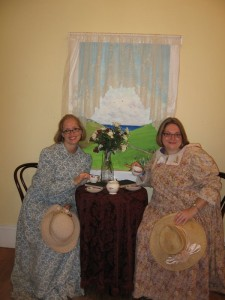 Hannah and I having high tea in our 1910 dresses