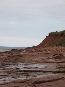 This beach had large, red rocks, many more than the others
